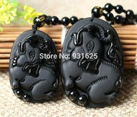 Cheap NEW- New Natural Black Obsidian Carved Cute Elephant Lucky Pendants Free Necklace Fine Jade Crystal Fashion woman man Amulet Jewelry