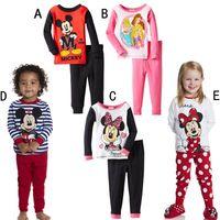 Wholesale 2015 new hot selling clothing set T T cotton long sleeved pyjamas for boys and girls Multi style cartoon kids Pj s Sleepwear