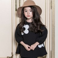 black sunflower - Europe Style Sunflower Printed Girls Dress Autumn Long Sleeve Cotton Blend Girls Dresses Kids Childs Princess Dressy White Black J2288