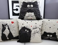 Wholesale Cats cartoon animal lovers get married print cotton and linen pillow car bar chair sofa cushion for office pillow of