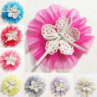 apparel tiaras - Infant Headband Mesh Lace Bowknow Hair Ornaments Beautiful Kids Headflower DIY Apparel Accessories Colors CF362