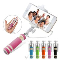 folding stick - Wholesalde Super Mini Wired Selfie Monopod Fold Self portrait Stick HoSelf portrait Stick Holder with Cable for Android and IOS moblie phone