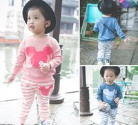 bear suits for sale - Hot Sale Fashion Lovely Children Suits Cute Bear Printed Striped Clothing Sets For Kids Swearshirt Pants Two Baby Casual Suits CR312