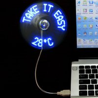 Wholesale mini desktop usb led fan with real time display Portable usb fan with led clock by DHL