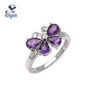 amethyst ring solid gold - solid silver ring with rhodium plated with Amethyst gem stone wedding engagement ring girls fine gold jewelry quality butterfly design