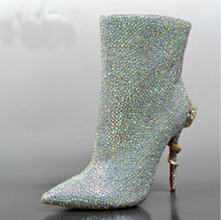 Cheap 2015 Rhinestone Wedding Bridal Dress Shoes Silver Winter Wedding Dress Boots Party Prom Boots Woman Pointed Toe High Heels