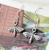 bees earrings - MIC x30 mm Antique Silver Cute Bee Flying Charm Pendant Earrings Silver Fish Ear Hook E962