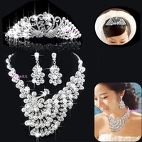 Wholesale 2016 Shining Wedding Bridal Crystal Tiara Earrings Necklaces Three piece Bridal Jewelry Sets Classic Bridal Accessories LYXC858