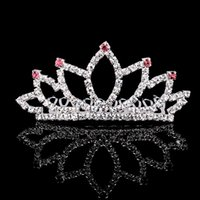 beauty crowns - 10PCS High Quality Cute Beauty Crown Tiaras Crystal Sliver Plated Hair Comb For Women Girl Birthday Party Accessories