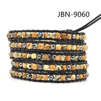 agate identification - Natural semi precious agate with Black gallstone leather beaded Multi wrap bracelets and retail JBN