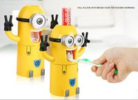 automatic squeezer - 2015 Cartoon Toothbrush Holder Automatic Toothpaste Dispenser Despicable Me Minions de dente Wall sticker Squeezer