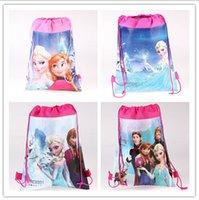 Wholesale 2015 fashion kid favorite Frozen Anna Elsa princess carttoon mix Hans non woven string backpack pouch for kids children s gift school bag