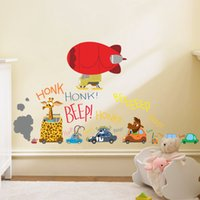 balloon animal car - 2016 Zootopia Wall Stickers PVC Wall Decals Q version Hot Air Balloon Car Wall Stickers Home Décor for Nursery Kid s Room Living Room