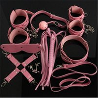 Wholesale Pink BDSM Bondage Restaints Kits Sets Handcuff Nipple Clip Whip Eyeshade Ball Gag Collar Sex Toys Sex Products for Couple BJ272603