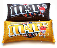 Wholesale M M Chocolate Candy Shape Polystyrene Microbead Pillows MM Pillows Yellow Brown Lovely Cute Cushion Kids Gift