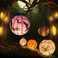 Cheap Fashion Hanging Pumpkin Paper Lantern Decor Lamp Light Halloween Holiday Party Decoration Props Lanterns Light 10Pcs Lots free shipping
