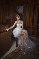 Wholesale 2015 Sweetheart Corset Princess Gown Front Long Back Short Prom Dress See Through Organza Summer Beach Lace Hi Lo A Line Wedding Dresses