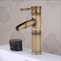 Wholesale Copper basin faucet single hole of cold hot water kitchen bathroom faucet two festival Antique bamboo