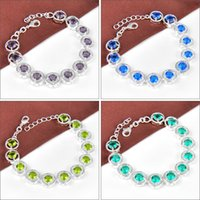 Wholesale 10PCS High Quality Party Gift Round Amethyst Peridot Blue Topaz Gemstone Charm Chain Bracelet Bangle Russia American Jewelry Mix Color