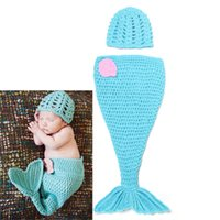 baby cocoons - Retail Crochet Baby Photography Prop Costume Lovely Mermaid Hat And Cocoon Handmade Baby Girl Outfits Clothes set MZS
