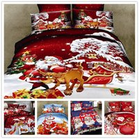Wholesale Christmas Bedding Sets Queen - Wholesale-4 piece 100% organic cotton 3D bedding sets christmas gift bed linen xmas bed cover set Santa Claus duvet doona cover bedclothes
