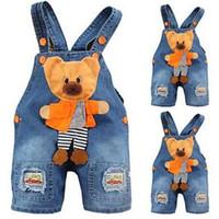 Wholesale Baby Girls Boys Bear Denim Jeans Bib Pants Rompers Playsuit Straps Clothes