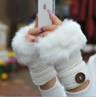 Wholesale Fashion crochet buttons striped faux rabbit fur knitted Gloves Lady s Winter warmer Fingerless gloves Half fingers Gloves women Hand Plush