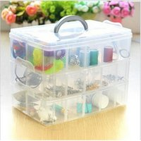 Wholesale 2015 new simple Tier Plastic Craft Beads Jewellery Storage Organiser Compartment Grid Box
