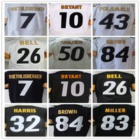 Wholesale Steelers Men s Le Veon Bell Michael Vick Antonio Brown Ben Roethlisberger Stitched Jerseys Number