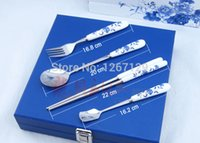 arts and crafts knife - Creative arts and crafts gifts stainless steel knife spoon chopsticks sets of blue and white porcelain tableware