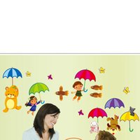Wholesale Kids Room Wall Stickers Decorative Stickers Cartoon Bear Color Umbrella PVC Bathroom Glass Stickers