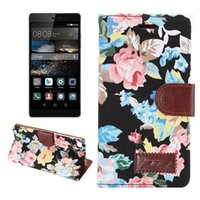 Wholesale For Huawei Ascend P8 TPU Flower Hybrid Wallet Leather Pouch Case Floral Book Stand Credit Card Holder Skin Holster Cover