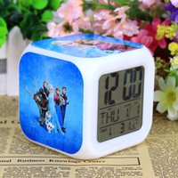 Wholesale Retail And New LED Colors Change Digital Alarm Clock Anna and Elsa Thermometer Night Colorful Glowing Clock