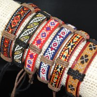 african american fabrics - 2016 New Mix Fabric Leather Vintage Embroidery Ball Party Bracelets Bangles for Mens Womens Jewelry A