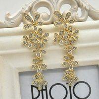 Wholesale New Fashion Elegant Women Jewelry Rhinestone Snowflake Lucky Flower Dangle Earrings Gold Silver Drop Earring Y52 MPJ067 M5