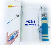 Wholesale New mini monopod cm Pocket Folding Selfie stick wired monopods Mini Selfie Stick With Cable Wired Monopod with groove DHL FREE