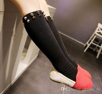 age rivets - Children Girls Soft Cotton Socks Rivet And Skull Head Pattern Hosiery For Age Years LJJH358 PAIR