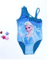baby blue large - Baby Girls Swimwear Toddler Swimsuit Elsa Anna Girls Swimwear Children Kids One piece Girls Bathing Suit CL005