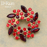 beautiful hijab pins - 6PC New Design European Style Beautiful Garland Brooch with red resin hijab pins Af030