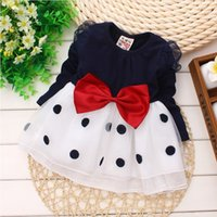 Wholesale Baby girl dress New dresses for girls bebe newborn children girls bowknot long sleeved princess dress baby girl clothes
