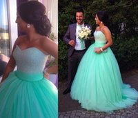 green wedding gown - Sparkling Ball Gown Wedding Dress Sweetheart Neck Green Tulle Sleeveless Crystal Beads Zipper Back Court Train Cheap Custom Bridal Gown