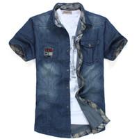 Free Shipping Washed Denim Cotton Sqoare Collar Short Jeans Men 2015 M
