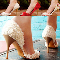 white lace wedding shoes - EU and US Standard Plus Size Rose Floral White Red Champagne Lace Wedding Shoes Bridal Shoes Heels wedding High Heels Shoes Women shoes