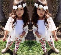 Wholesale Girls Outfits Children s sets Kids girl Tshirts lace cotton cardigan print floral cotton legging Baby girl clothes