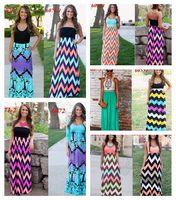 beach wavy - 9 Design Women Sexy Vest Long Dress Maxi Bohemian Slim Skirts Summer Sleeveless Beach Dresses Wavy Print JJA20
