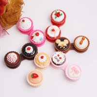 Wholesale Contact Lens Accessories Contact Lens Storage Set new cute Cream Cupcake styles contact lenses case box lens Companion box Lenses case