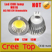 Wholesale MR16 Lamp Base LED COB Spotlight Bulbs DC12V Voltage Energy saving LED COB Bulbs W W W Power Degree Lighting Angle
