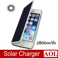 solar phone case - New mah Solar Power Leather Flip External Backup Battery Charger Case colors For Apple iPhone inch mobile phone chargers