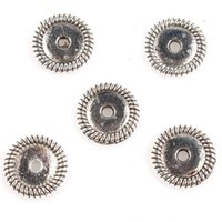 base metal jewelry beads - New Alloy Flower Based Round Charms Antique Silver Plated Big Hole Beads Fit Jewelry Making mm