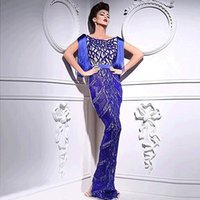 embroidery lace - Celebrity Dresses Saudi Arabia Yousef Aljasmi Myriam Fares Reference Images Blue Sexy Sleeveless Sheath Floor Length Scoop Evening Dresses
